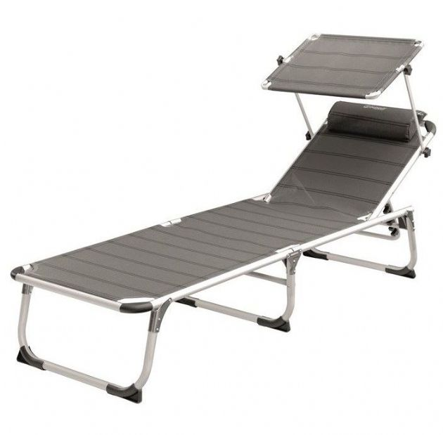 Outwell VICTORIA Sunbed with 5 position options and sunshade, Beach Garden Sunbathing Chair - Grasshopper Leisure